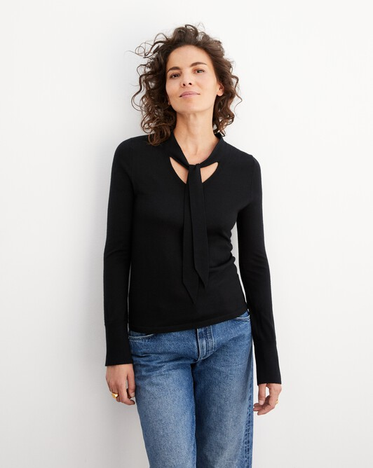Pussy bow extrafine V-neck pullover - Black