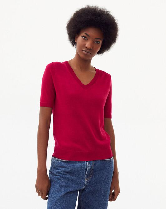 Short-sleeved silk v-neck sweater - Heat
