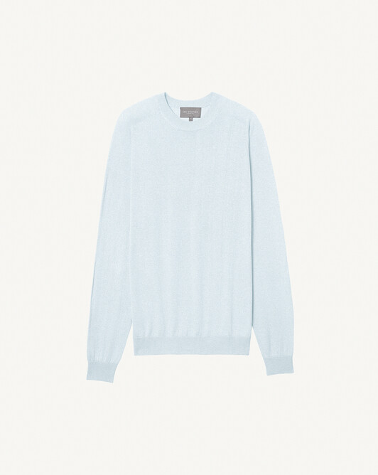 Extrafine cashmere / organic cotton crew neck sweater - Cloud blue