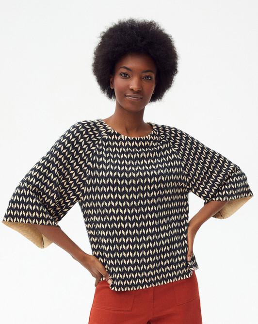 Bamboo print openwork crew-neck sweater - Hemp/black