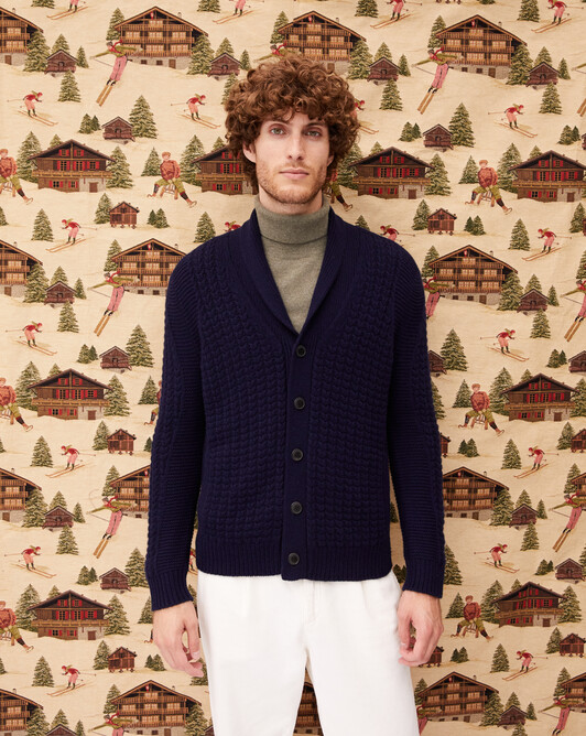 12-ply shawl collar cardigan - Navy blue