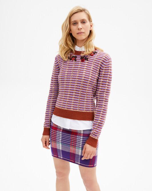 Tricolour stitch openwork crew-neck sweater - Crocus/everbay