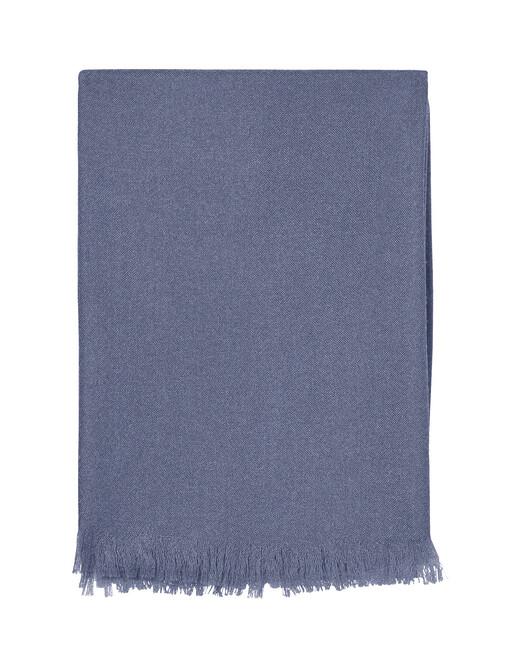 Giant cashmere voile stole 250 cm x 120 cm - Denim blue