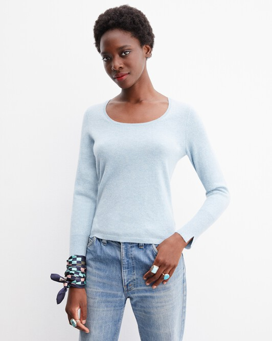 Fitted scoop crew neck pullover - Jean