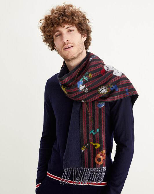 Paint print two-colour fringed scarf 170 cm x 35 cm - Navy blue