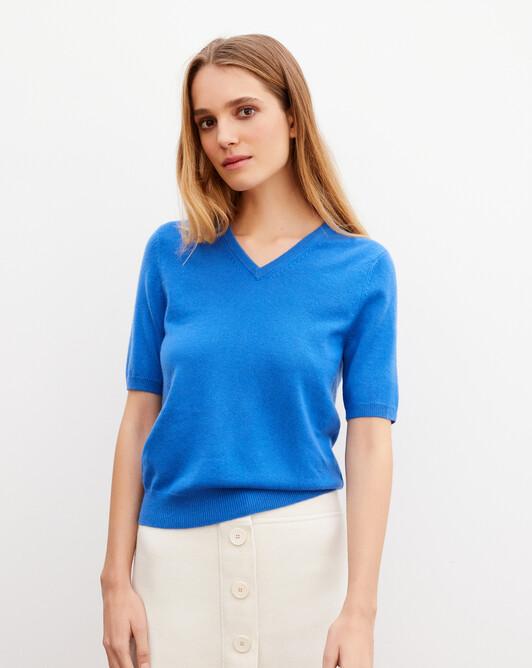 Timeless short-sleeved V-neck pullover - French blue