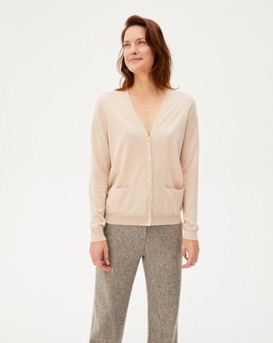 Extrafine V-neck cardigan - Sepia beige
