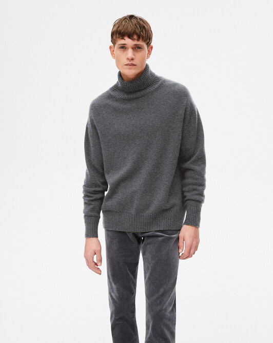 4-ply loose roll-neck sweater - College grey