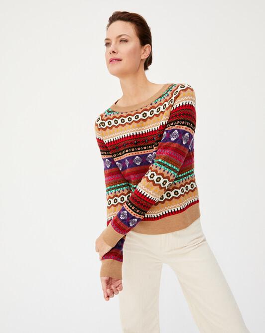 Jacquard fair-isle crystal stones crew-neck sweater - Multicoloured