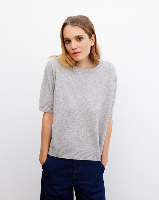 Contemporary short-sleeved maxi crew neck pullover - Frost grey