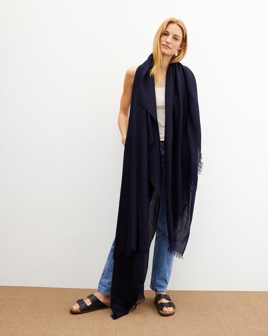 Giant cashmere voile stole 250 cm x 120 cm - Navy blue