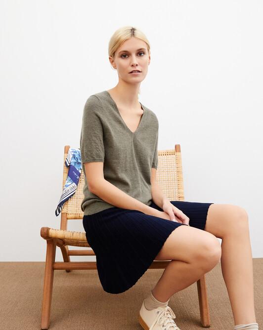 Contemporary extrafine short-sleeved V-neck - Khaki
