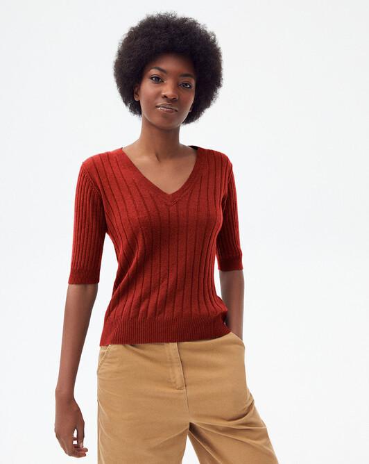 Short-sleeved ribbed v-neck sweater - Chili/sangria