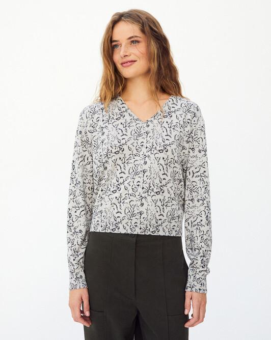 Kerala print v-neck sweater - Frost grey