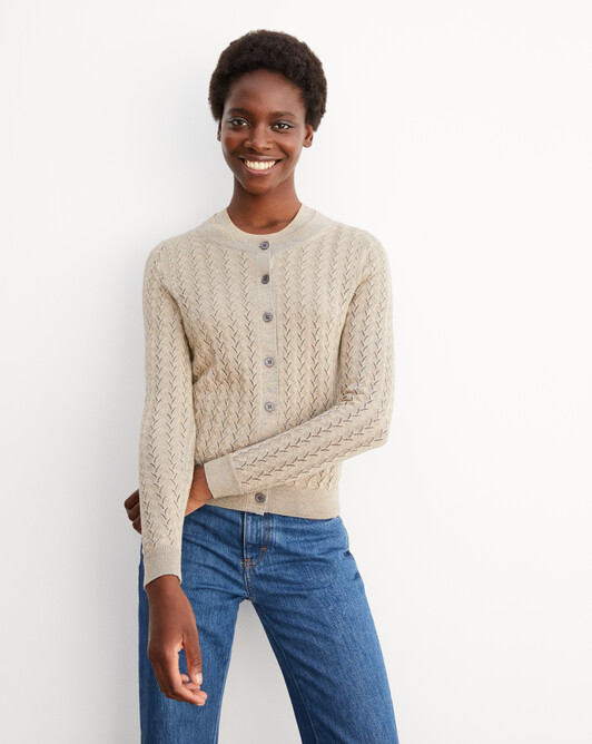 Metallic pointelle extrafine cardigan - Gold flannel grey
