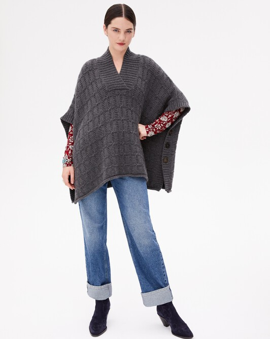 Fancy cable stitch poncho - Charcoal grey