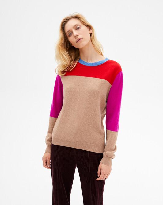Applied colour block crew-neck sweater - Multicoloured