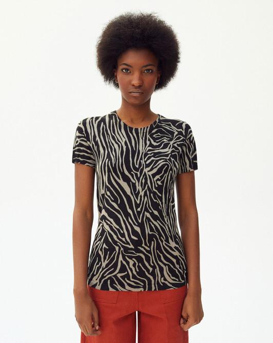 Ras de cou manches courtes imprimé zebra - Coriandre/noir
