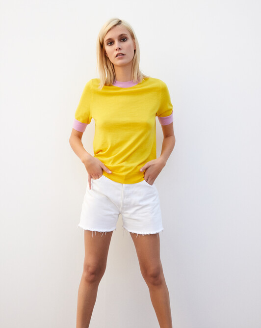 Extrafine short-sleeved crew neck pullover with contrasting finishes - Canari yellow/confetti
