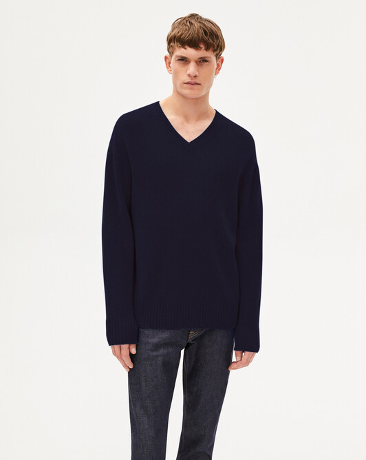 4 ply loose cut V-neck sweater - Navy blue