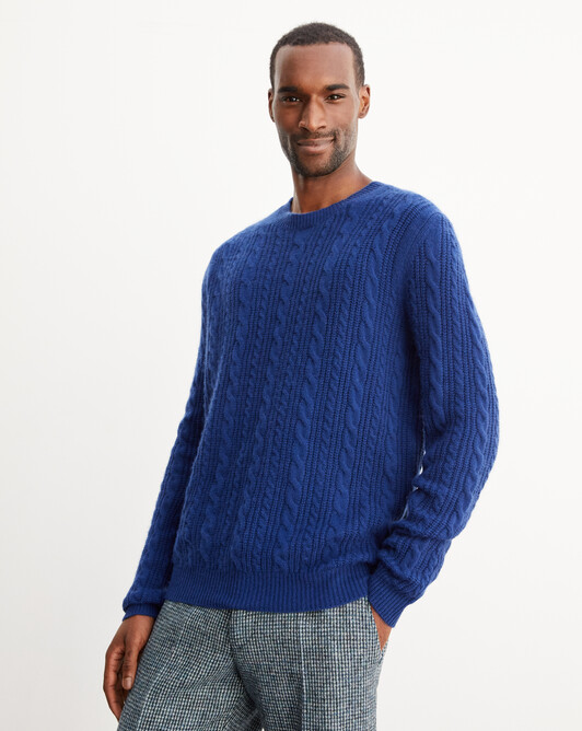 Ribbed cable-stitch crew neck pullover - Royal