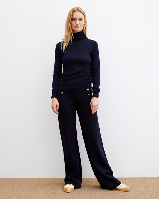 Contemporary extrafine roll-neck pullover - Navy blue