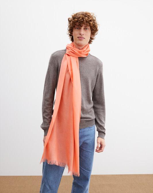 Cashmere voile scarf 150 cm x 55 cm - Melon