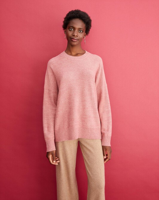 4-ply marl crew neck pullover - Marled rosewood/blush