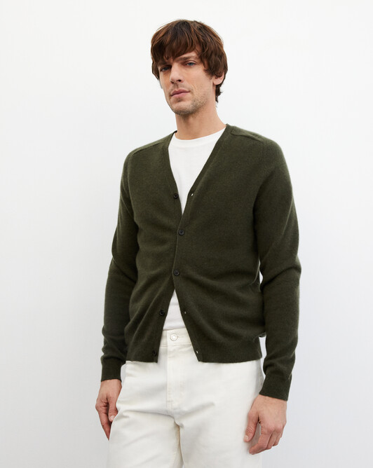 Fitted cardigan with offset shoulders - Kale