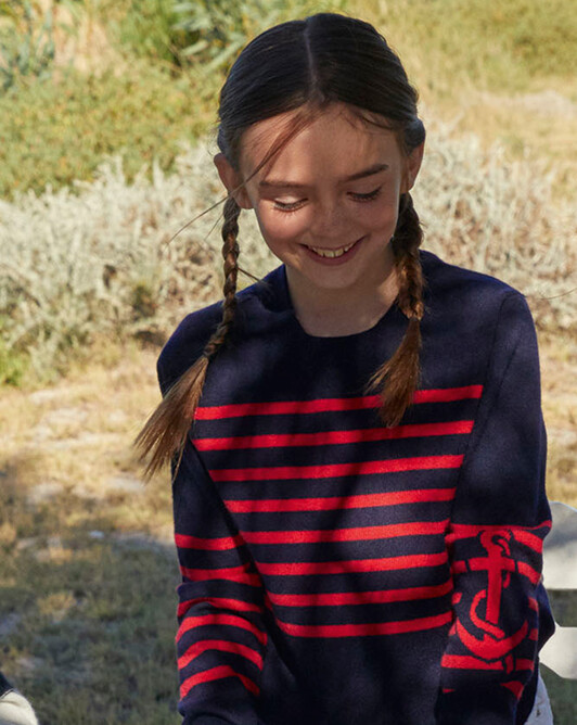 Cable stitch and anchor intarsia crew-neck pullover - Navy blue/ruby red