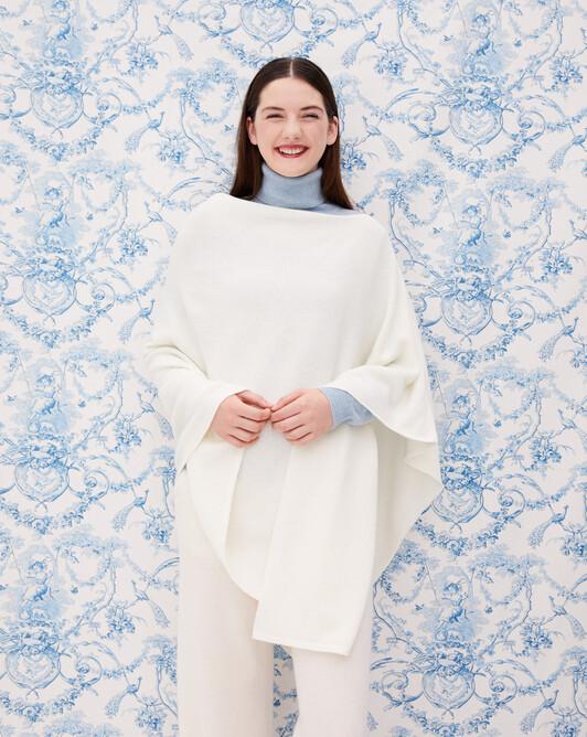 Long poncho - Autumn white