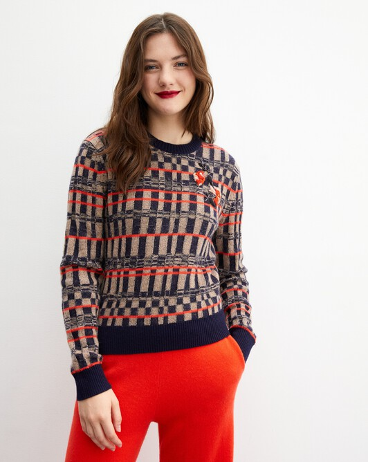 Embroidered checkerboard crew neck pullover - Lipstick