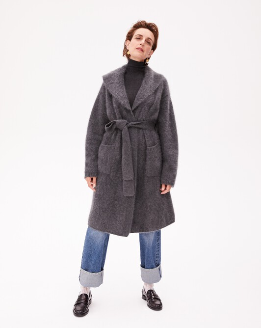 Brushed cashmere coat - College grey