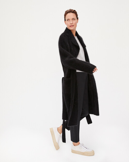 Brushed cashmere coat - Black