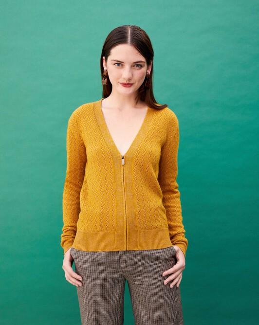 Criss-cross two-tone-stitch zipped cardigan - Brassica