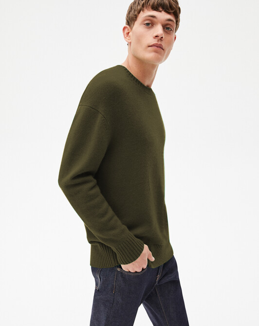 4-ply loose crew-neck sweater - Kale