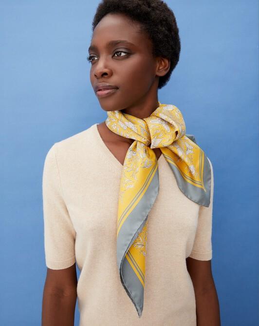 Butterfly print silk square scarf 90 cm x 90 cm - Straw