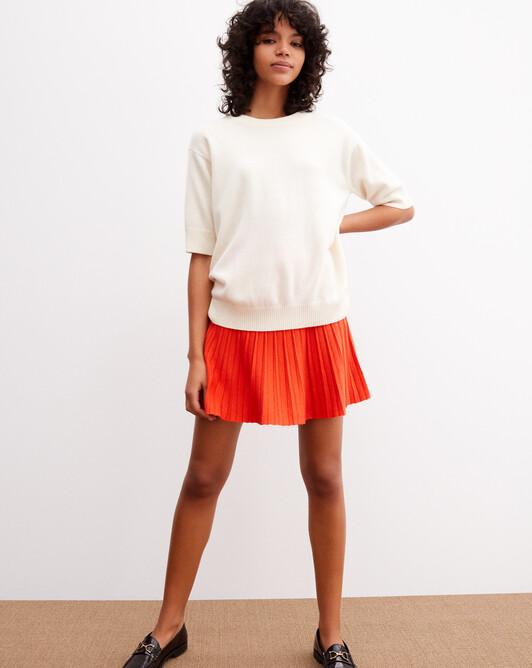 Contemporary short-sleeved maxi crew neck pullover - Autumn white