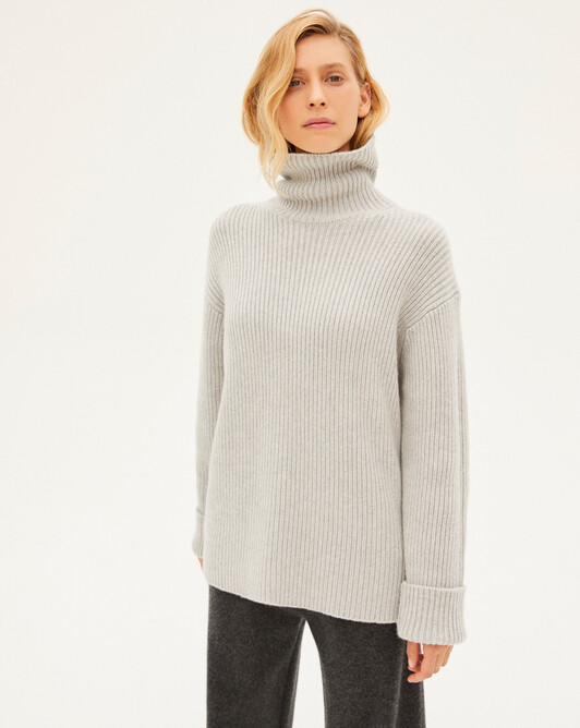8 ply rib loose roll-neck sweater - Frost grey