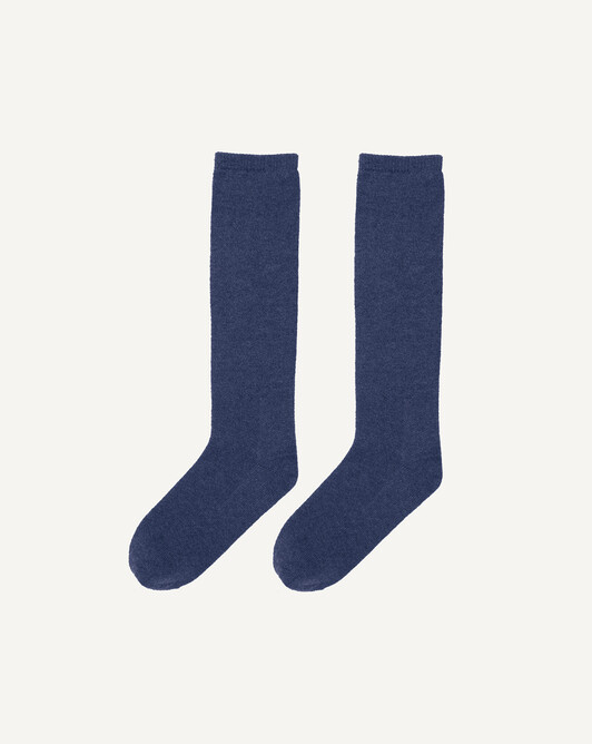 Plain long socks - Indigo