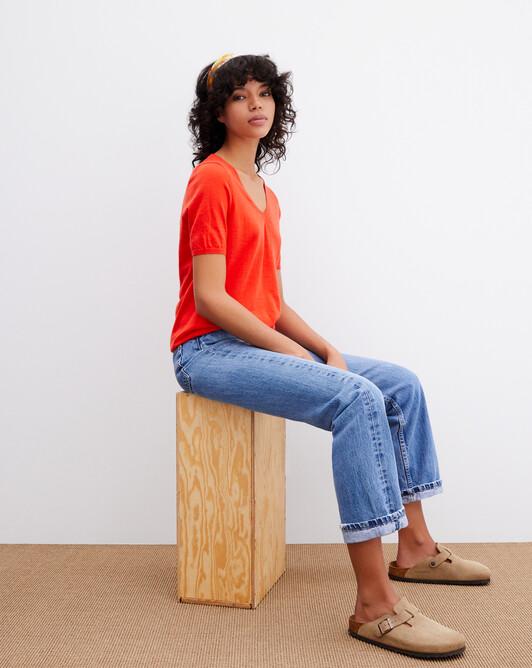 Contemporary extrafine short-sleeved V-neck - Tan orange