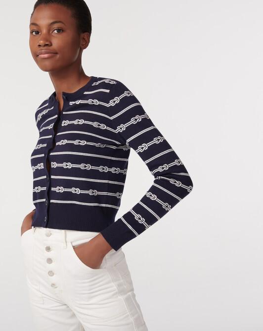 Sailor?s knots jacquard cardigan - Navy blue/autumn white