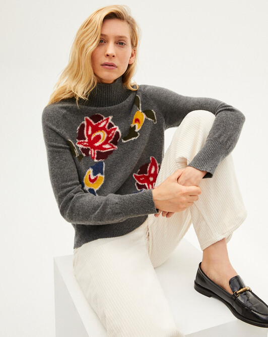 Persian intarsia roll-neck sweater - College grey