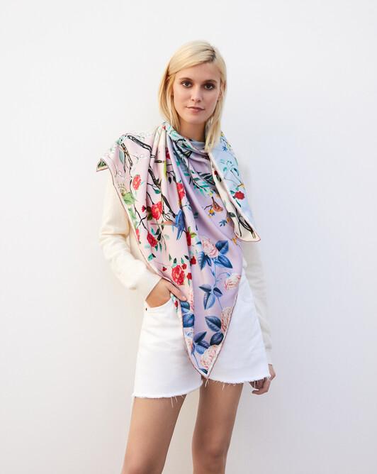 Bird printed silk square scarf 90cm x 90cm - Multicoloured