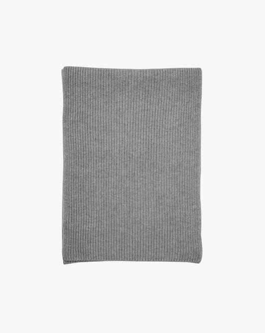 Half cardigan rib scarf - Flannel grey