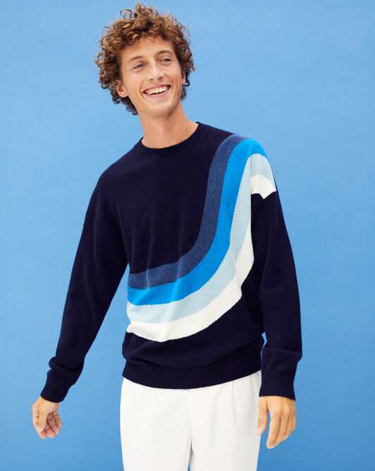 Waves intarsia crew-neck sweater - Navy blue