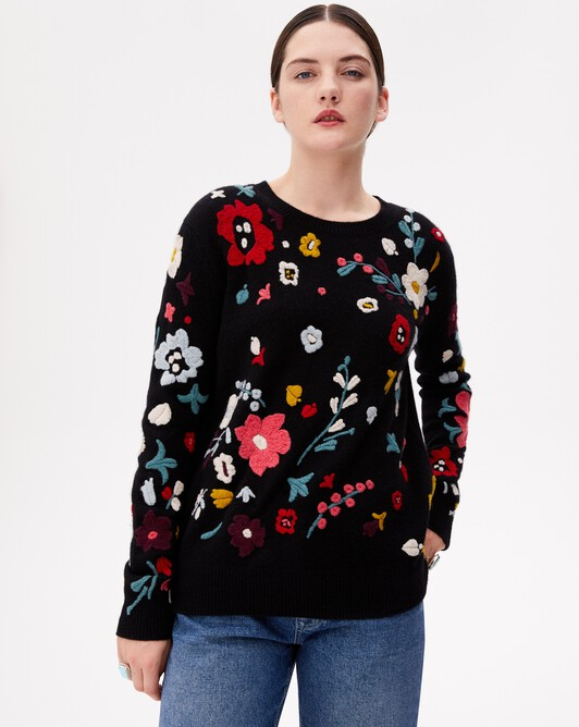 Hand-embroidered flower crew neck pullover - Black