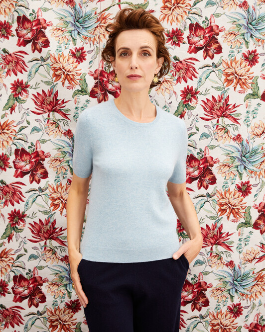 Classic short-sleeved crew neck pullover - Jean