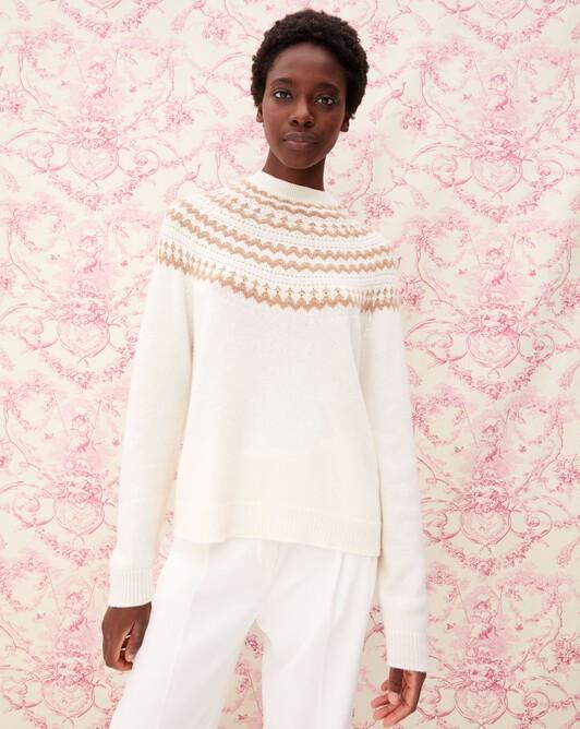 Snow fair isle crew neck pullover - Autumn white