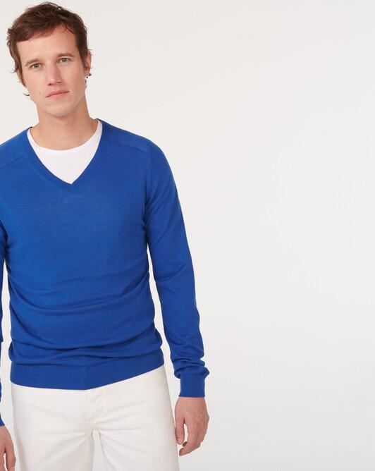Extrafine cashmere/organic cotton V-neck sweater - Mykonos